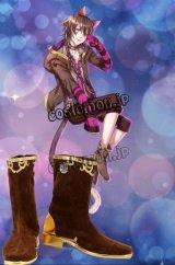 夢王国と眠れる100人の王子様 不思議の国・ワンダーメア チェシャ猫風 コスプレ靴 ブーツ