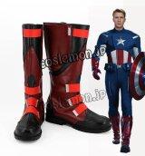 アベンジャーズ Marvel's The Avengers スティーブ・ロジャース キャプテン・アメリカ風 コスプレ靴 ブーツ