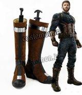 Avengers: Infinity War アベンジャーズ/インフィニティ・ウォー キャプテン・アメリカ風 03 コスプレ靴 ブーツ