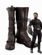 Avengers: Infinity War アベンジャーズ/インフィニティ・ウォー キャプテン・アメリカ風 04 コスプレ靴 ブーツ
